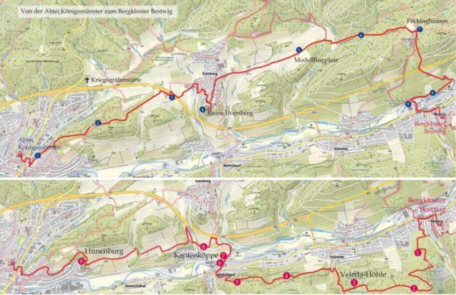 Auf zwei Routen verbindet der spirituelle Wanderweg das Bergkloster Bestwig mit der Abtei Königsmünster. Auf beiden Wegen gibt es jeweils neun Impulse.